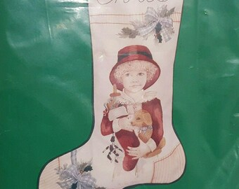 Vintage Crewel Embroidery Stocking Kit Needle Treasures Christmas Girl Victorian