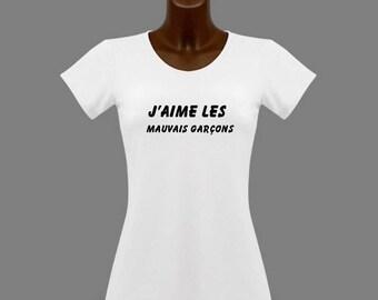 T-shirt women white humor J ' love bad boys