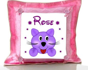 Cushion Pink cat personalized with name