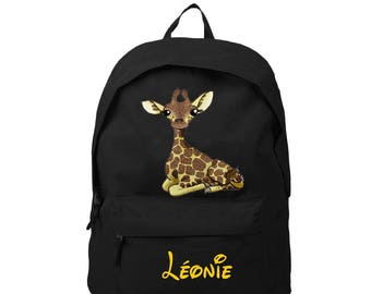 Giraffe black backpack personalized with name