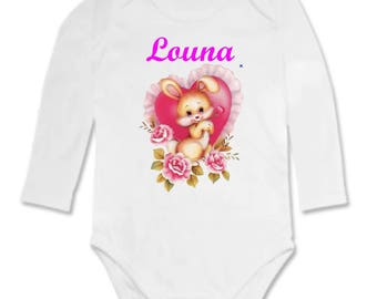 Rabbit heart personalized with name Bodysuit