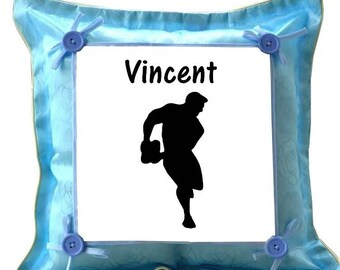 Blue pillow personalized with name rugby player