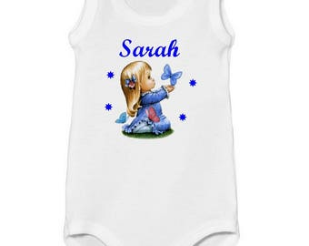 Tank girl and Butterfly personalized with name Bodysuit