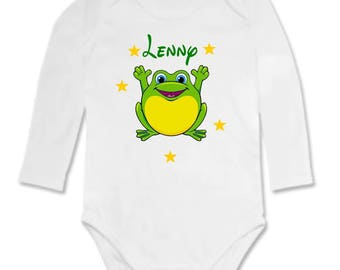 Bodysuit baby frog personalized with name