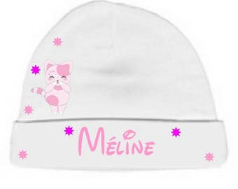 Personalized with name White Pink kitten baby bonnet
