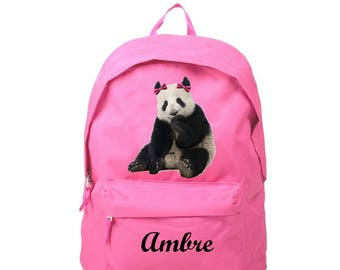 Backpack pink Panda personalized with name
