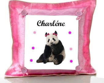 Cushion Pink Panda personalized with name