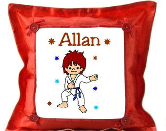 Red cushion Judoka personalized with name