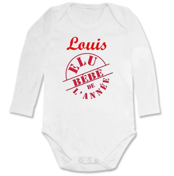 Body bébé Elu bébé de l année personnalisé avec prénom 18bd1fee17d