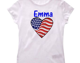 T U S A girl shirt personalized with name