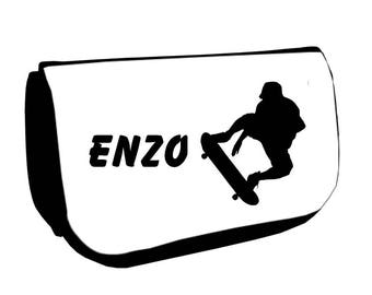 Cosmetic case Black /crayons Skateboard personalized with name