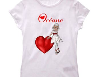 T-shirt girl and girl heart personalized with name