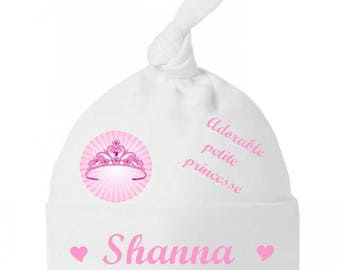 Adorable little Princess bow personalized with name baby bonnet