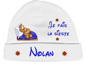 Baby Beanie white I'm NAP personalized with name