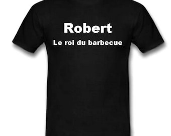 Black t-shirt personalized with name barbecue King