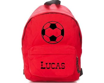 bag has red football personalized with name