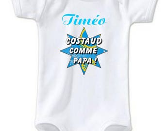 Bodysuit tough like Daddy personalized with name