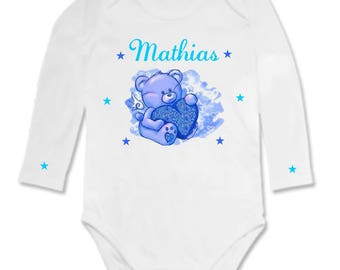 Heart personalized with name and baby bear Bodysuit