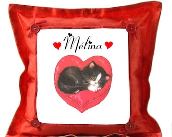 Red cushion kitten personalized with name