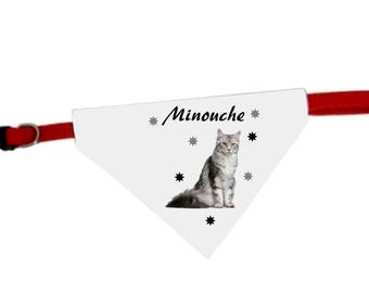 Necklace personalized with name Maine coon cat bandana