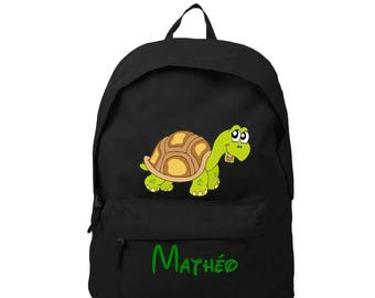 Black backpack turtle personalized with name