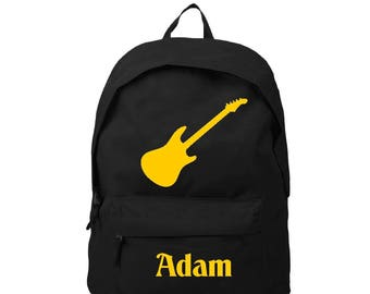 Black backpack guitar personalized with name