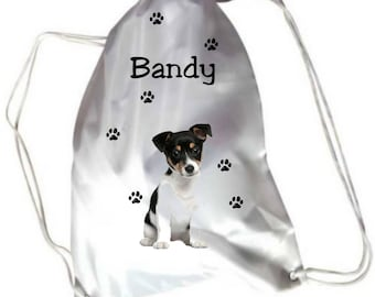 Jack Russell dog pool gym bag personalised with name
