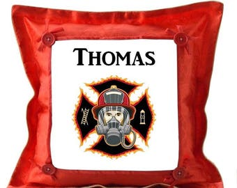 Red cushion fireman personalized with name