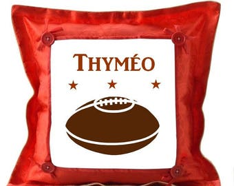 Red cushion football personalized with name