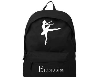 Black backpack dancer personalized with name
