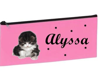 Personalized with name pink kitten School Kit