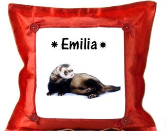 Red cushion ferret personalized with name