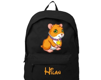 Black backpack pig from India personalized with name