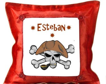 Red cushion Pirate personalized with name