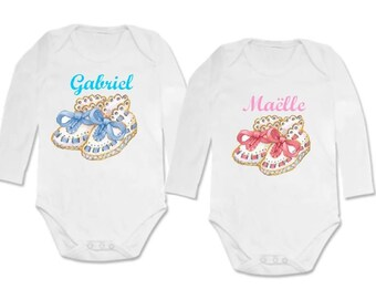 twin body booties pink and blue set personalized with name