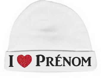 Baby Beanie white I love hearts personalised with name