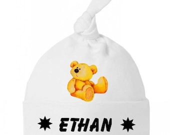 Baby bow personalized with name Teddy bear baby Hat