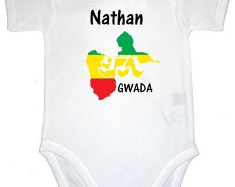 Onesie card personalized with name at the me.