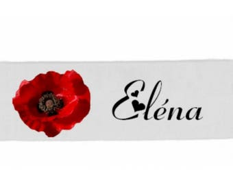 White poppy girl banner personalized with name