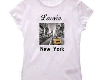 Tee shirt New York City girl personalized with name