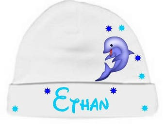 Personalized with name White Dolphin baby bonnet