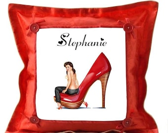 Red pin-up pillow personalized with name