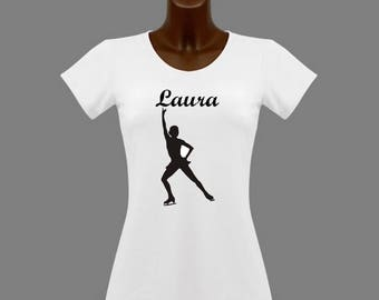 White skating women t-shirt personalized with name