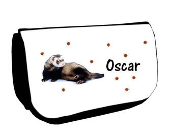 Cosmetic case Black /crayons ferret personalized with name