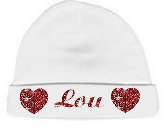 Beanie Baby white hearts personalized with name