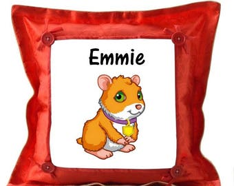 Red pig cushion from India personalized with name
