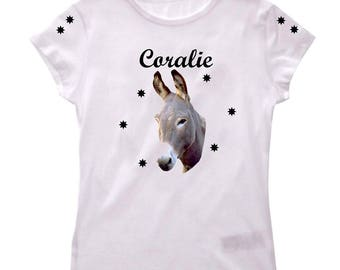 T-shirt donkey girl personalized with name
