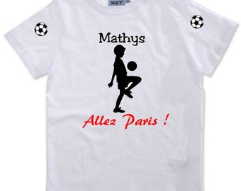 T-shirt boy go Paris personalized with name