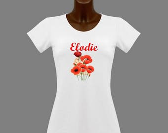 White poppy women t-shirt personalized with name