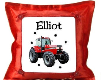 Red Tractor personalized with name cushion